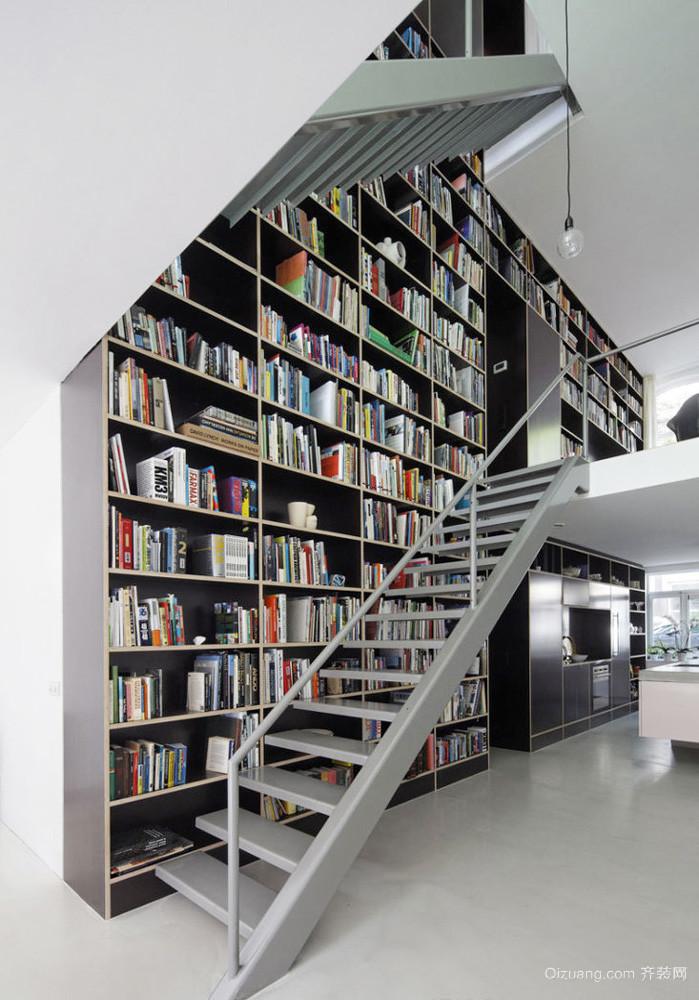 现代loft风格跃层楼梯书架设计效果图赏析