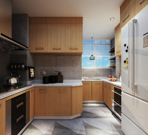 宜家风格小户型厨房整体橱柜设计装修效果图