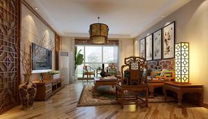 中式风格三居室客厅装修设计效果图鉴赏