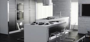 现代简约风格一居室开放式厨房吧台设计效果图