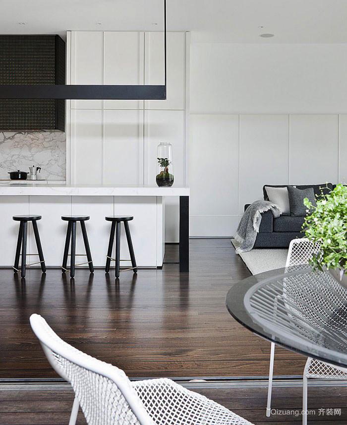 北欧风格单身公寓开放式厨房吧台设计效果图