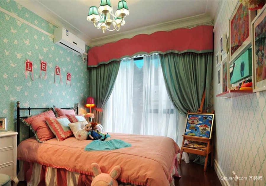 欧式田园风格三居室儿童房装修设计效果图
