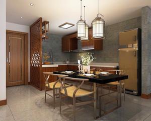 中式风格二居室厨房餐厅吊顶装修效果图