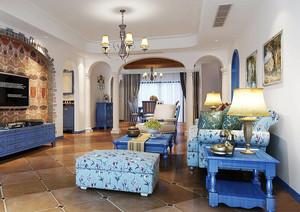 地中海风格三居室客厅装修效果图鉴赏