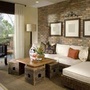 135平米东南亚风格客厅沙发背景墙设计效果图