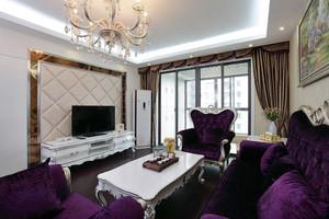 法式风格两居室客厅电视背景墙设计效果图
