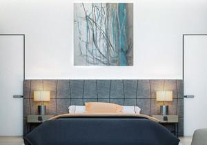 22平米后现代风格男生卧室背景墙装修效果图