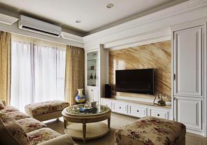 100平米欧式田园风格客厅电视组合柜设计效果图