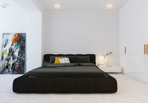 现代风格一居室卧室背景墙装修设计效果图