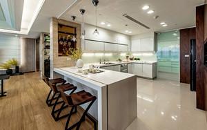 现代风格大户型开放式厨房吧台装修设计效果图