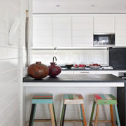70平米小清新风格厨房吧台设计效果图
