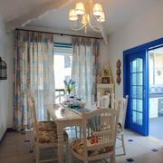地中海风格餐厅窗帘装修效果图