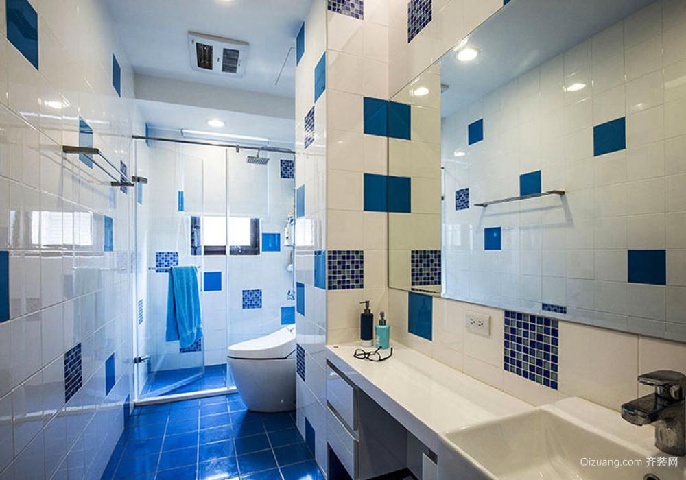 8平米地中海风格室内小卫生间装修效果图