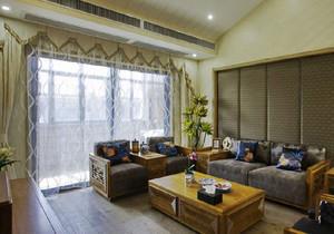 东南亚风格小户型客厅窗帘设计装修效果图