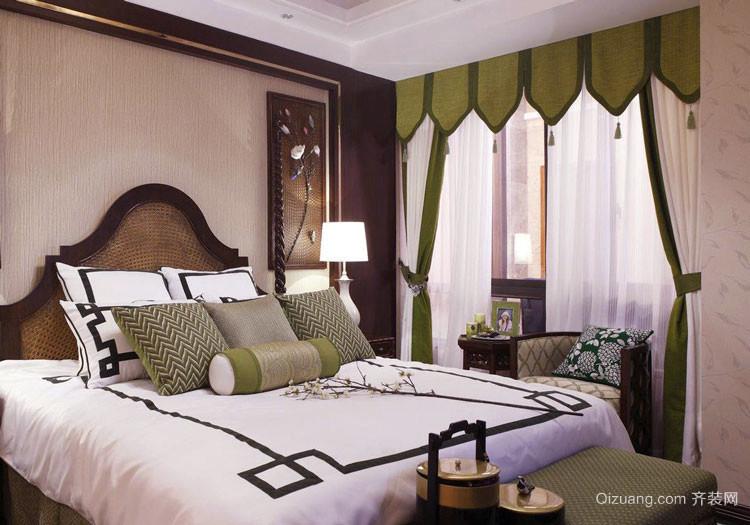 东南亚风格三居室室内卧室窗帘装修效果图
