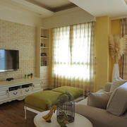 都市简约风格小户型客厅窗帘设计装修效果图