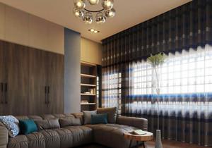 后现代风格室内客厅窗帘设计装修效果图