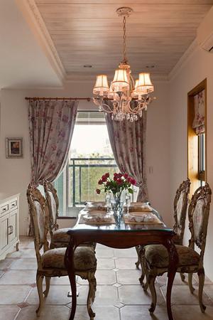 欧式田园风格别墅室内餐厅窗帘装修效果图赏析