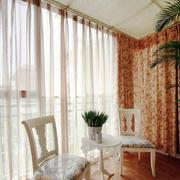 欧式田园风格大户型室内阳台窗帘设计装修效果图