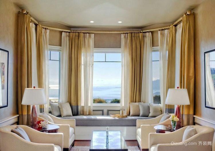 精致典雅欧式风格别墅室内飘窗设计装修效果图