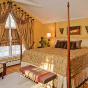 欧式田园风格别墅室内卧室窗帘装修效果图