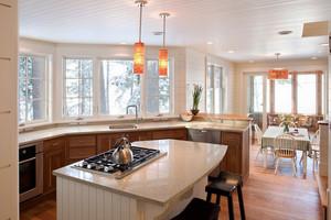简欧风格大户型室内厨房吧台设计装修效果图