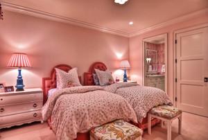 欧式风格别墅室内粉色儿童房间装修效果图