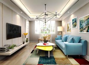 简约地中海风格客厅电视背景墙装修效果图
