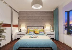 宜家风格两居室室内卧室背景墙装修效果图