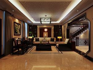 163平米中式风格复式楼室内客厅装修效果图