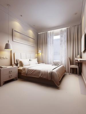 现代简约风格宾馆房间装修效果图