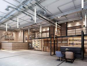 86平米现代loft风格咖啡厅设计装修效果图