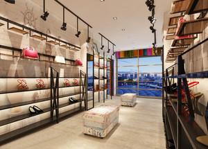 40平米现代loft风格鞋店展示柜装修效果图