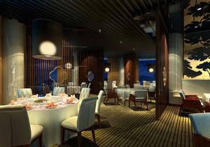 66平米中式风格中餐厅设计装修效果图