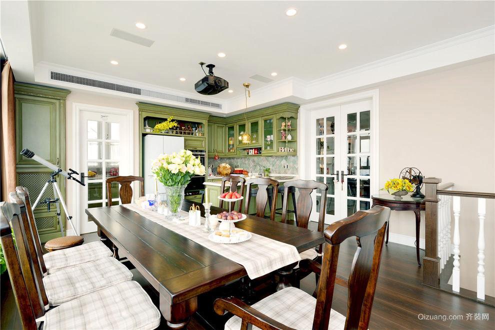 复古美式风格复式楼室内餐厅装修效果图