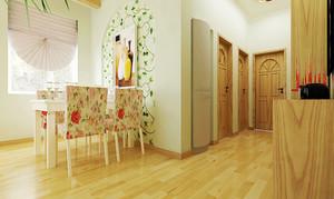 现代田园风格两居室室内餐厅背景墙装修效果图