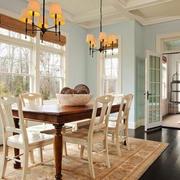 美式风格别墅室内餐厅吊灯设计装修效果图