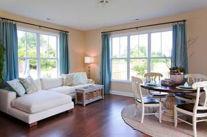 现代美式风格客厅窗帘设计装修效果图