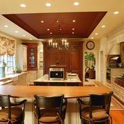 美式乡村风格别墅室内整体厨房装修效果图