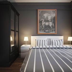 现代简约原木风格两室两厅室内装修效果图