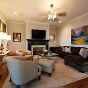简欧风格三居室室内客厅窗帘设计装修效果图