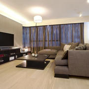 现代简约风格大户型客厅窗帘设计装修效果图