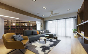 后现代风格大户型室内客厅书架装修效果图赏析