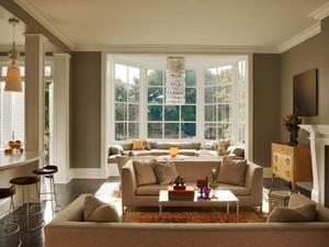 简欧风格三居室室内客厅阳台装修效果图