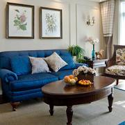 美式风格大户型客厅沙发背景墙装修效果图