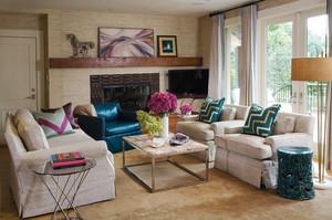 简欧风格两居室室内客厅沙发摆放效果图赏析