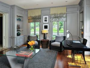 现代简约美式风格别墅室内书房装修效果图