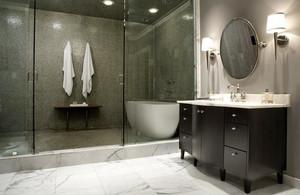 10平米新中式风格卫生间地砖效果图