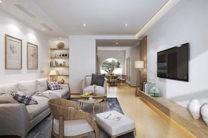 现代简约中式风格两室一厅室内装修效果图