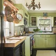 14平米美式风格整体厨房设计装修效果图